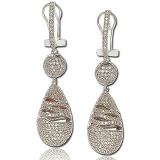 Suzy Levian Cubic Zirconia Sterling Silver Dangle Drop Earrings