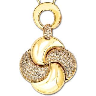Suzy Levian Cubic Zirconia Sterling Silver Swirl Pendant Neckalce