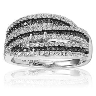 Suzy Levian Sterling Silver Cubic Zirconia Black & White Stripe Ring
