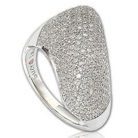 Suzy Levian Sterling Silver Pave Cubic Zirconia Diagonal Pave Ring - White