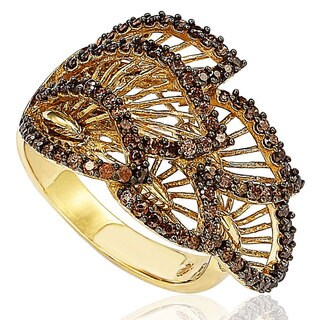 Suzy Levian Pave Cubic Zirconia Chocolate Leaf Sterling Silver Ring - Brown