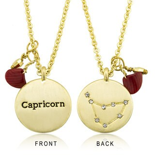 Goldplated Zodiac Sign Crystal Constellation and Garnet Quartz Birthstone Necklace (3 options available)