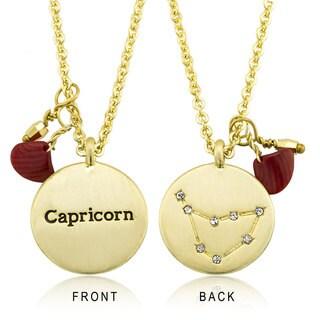 Goldplated Zodiac Sign Crystal Constellation and Garnet Quartz Birthstone Necklace