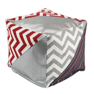 Red, White and Grey Triangle 17-inch Square Beads Hassock
