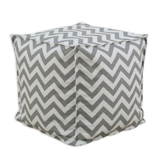 Zig Zag Ash 12.5-inch Square Seamed Pellet Hassock
