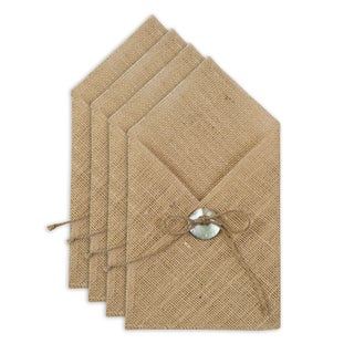 Burlap Natural Table Setting with Hemp Tied Mother of Pearl Button (Set of 4)