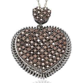 Suzy Levian Pave Cubic Zirconia Sterling Silver Chocolate / White Heart Pendant