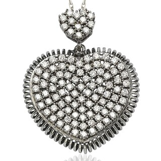 Suzy Levian Pave Cubic Zirconia Sterling Silver Chocolate / White Heart Pendant (2 options available)
