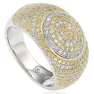 Suzy Levian Sterling Silver White & Yellow Circle Cubic Zirconia Ring