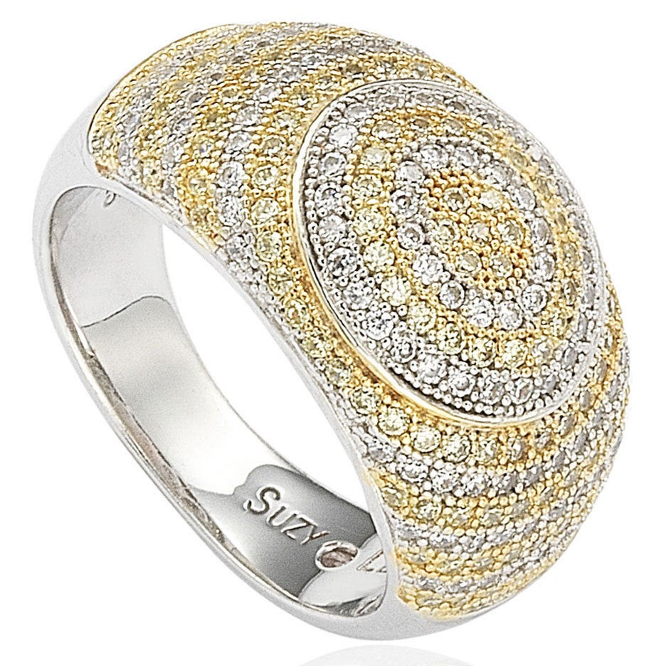 Suzy Levian Sterling Silver White & Yellow Circle Cubic Z...