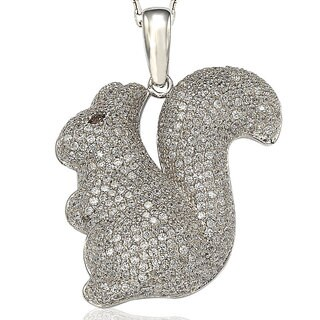 Suzy Levian Pave Cubic Zirconia Sterling Silver Squirrel Pendant Neckalce