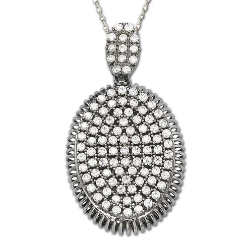 Suzy Levian Cubic Zirconia Sterling Silver White or Chocolate Oval Pendant