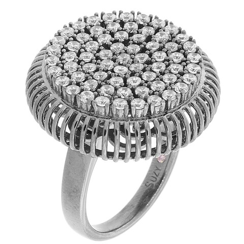 Suzy Levian Pave Cubic Zirconia Sterling Silver Cluster Circle Ring - Black White