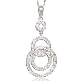 Suzy Levian Cubic Zirconia Sterling Silver Circle Loop Pendant Neckalce