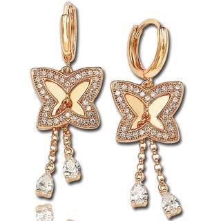 Suzy Levian Cubic Zirconia Rose Sterling Silver Butterfly Earrings