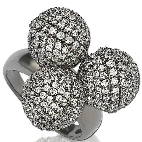 Suzy Levian Cubic Zirconia Sterling Silver Triple Threat Ring - Black White