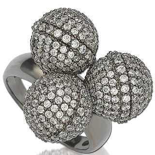 Suzy Levian Cubic Zirconia Sterling Silver Triple Threat Ring