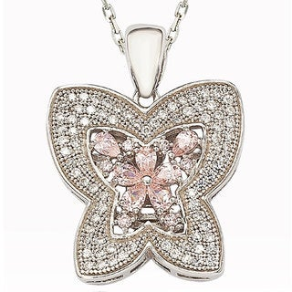 Suzy Levian Cubic Zirconia Sterling Silver Butterfly Pendant Necklace