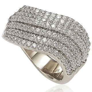 Suzy Levian Pave Cubic Zirconia Sterling Silver Wavy Gladiator Ring