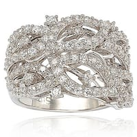 Suzy Levian Pave Cubic Zirconia Sterling Silver Pave Leaf Ring
