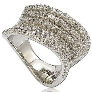 Suzy Levian Cubic Zirconia Sterling Silver Pave Wavy Gladiator Ring