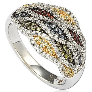 Suzy Levian Cubic Zirconia Sterling Silver Multi-Color Wave Ring