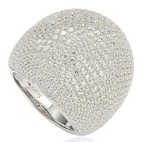 Suzy Levian Sterling Silver Cubic Zirconia Oversized Pave Ring - White