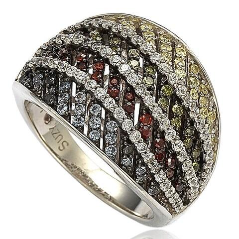 Suzy Levian Sterling Silver Cubic Zirconia Multi-Color Pave Ring - Multicolor