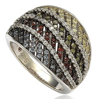Suzy Levian Sterling Silver Cubic Zirconia Multi-Color Pave Ring - Multicolor