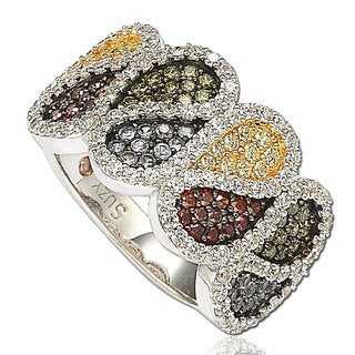 Suzy Levian Cubic Zirconia Sterling Silver Multi-Color Paisley Ring