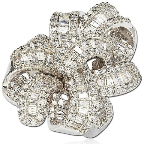 Suzy L. Cubic Zirconia Sterling Silver Multi-Cut Gladiator Ring