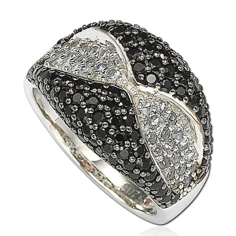 Suzy Levian Cubic Zirconia Sterling Silver Black and White Wavy Ring