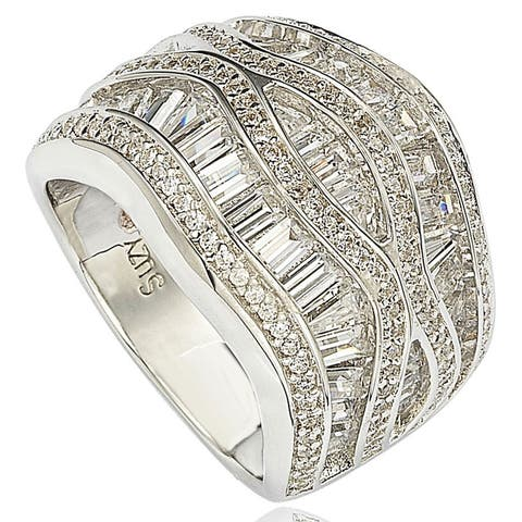 Suzy L. Pave Cubic Zirconia Sterling Silver Crisscross Ring