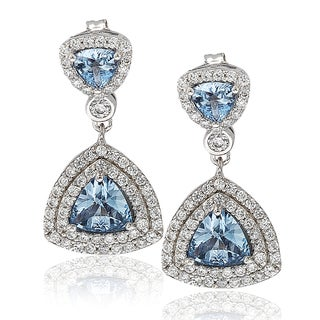 Suzy Levian Sterling Silver Cubic Zirconia Trillion Dangle Earrings