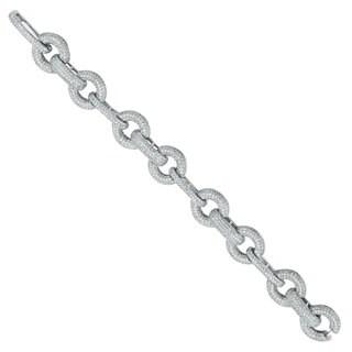 Suzy Levian Pave Cubic Zirconia Sterling Silver Link Bracelet