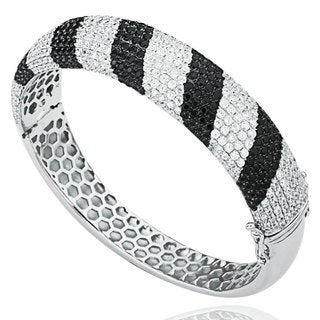 Suzy Levian Pave Cubic Zirconia Sterling Silver Black & White Striped Bangle