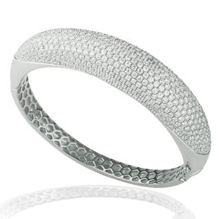 Suzy Levian Pave Cubic Zirconia Sterling Silver Sporty Pave Bangle