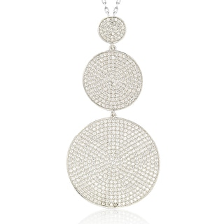 Suzy Levian Sterling Silver Cubic Zirconia White Pave Graduating Circles Pendant