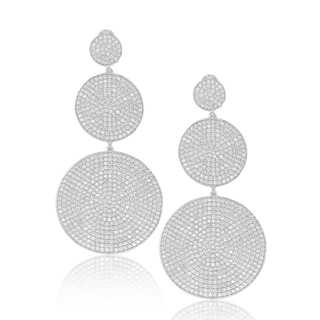 Suzy Levian Sterling Silver Cubic Zirconia White Pave Graduating Circle Earrings