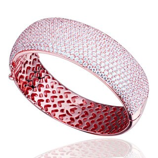 Suzy Levian Cubic Zirconia Sterling Silver Pink / White Pave Thick Bangle