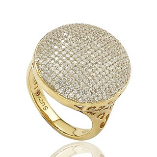 Suzy Levian Sterling Silver Pave Cubic Zirconia Ring