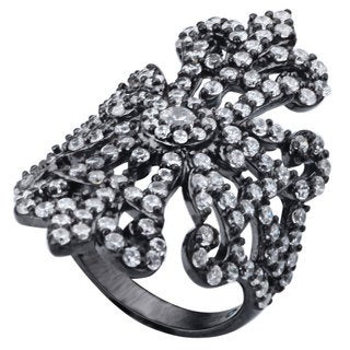 Suzy Levian Pave Cubic Zirconia Sterling Silver Ornate Flower Ring