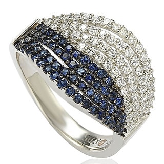 Suzy Levian Pave Cubic Zirconia Sterling Silver Weaving Blue and White Ring