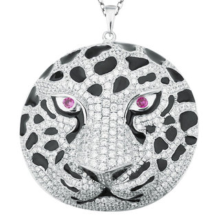 Suzy Levian Pave Cubic Zirconia Sterling Silver White Tiger Pendent Necklace