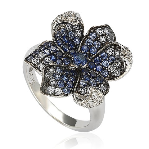 Suzy Levian Sapphire and Diamond in Sterling Silver and 18K Gold Flower Petal Ring - Blue