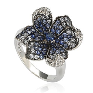 Suzy Levian Sapphire and Diamond in Sterling Silver and 18K Gold Flower Petal Ring