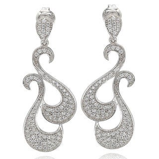 Suzy Levian Pave Cubic Zirconia Sterling Silver Swirl Earrings