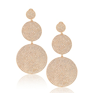 Suzy Levian Sterling Silver Cubic Zirconia Micro Pave Graduating Circle Dangle Drop Earrings