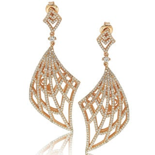 Suzy Levian Rosed Sterling Silver Cubic Zirconia Gladiator Drop Earrings