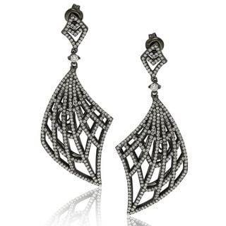 Suzy Levian Rosed Sterling Silver Cubic Zirconia Gladiator Drop Earrings